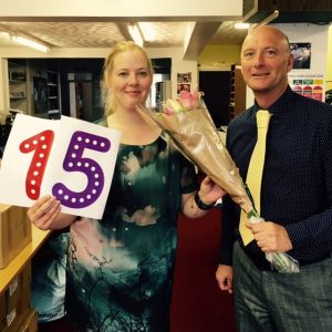 Helen Morris celebrating 15 years at Climb, with Operations Manager Paul Bussell